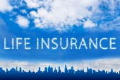 Life insurance text on cloud — Stock Photo