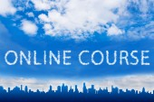 Online course text on cloud — Stock Photo