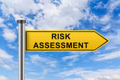Yellow road sign with risk assessment words — Stock Photo