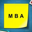 MBA or Master of Business Administration word on yellow note — Stock Photo #73496845