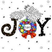 Christmas card with joy — Stock Vector