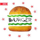 Burger menu with stars — Stock Vector