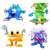 Monsters isolated on white — Stock Vector