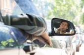 Young Man Reflection on Car Side Mirror — Stok fotoğraf