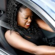 Young Black Woman Driving in Safety Seat Belt — Stock Photo #55288119