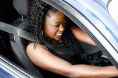 Young Black Woman Driving in Safety Seat Belt — Foto Stock