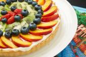 Mouth Watering Cake with Fresh Fruits on a Plate — Stock Photo