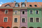 Colourful buildings on marketplace in Poznan — Stock Photo