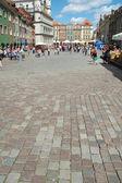Cobblestone on marketplace in Poznan — Stock Photo