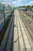 Tram and railway tracks in Poznan, Poland — Stockfoto