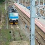 Electric locomotive and railway tracks in Poznan, Poland — Stock Photo #59752011