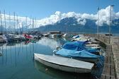 Boats in marina in La Tour-de-Peliz in Switzerland — Stock Photo