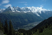 Mont Blanc and Chamonix in Alps in France — Stock Photo