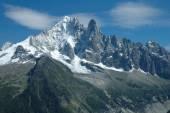 Peaks in snow nearby Chamonix in Alps in France — Stock Photo