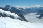 View from Jungfraujoch pass in Alps in Switzerland — Stock Photo