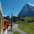 Eiger mountain and train in Kleine Scheidegg in Switzerland — Stock Photo #63331435
