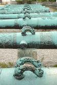 Ручки на античный орнаментированные пушка бочки — Стоковое фото