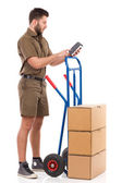 Checking the delivery status — Stock Photo