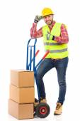 Worker in reflective clothes showing thumb up — Stock Photo