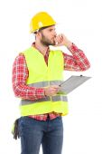 Thinking worker with a clipboard — Stock Photo