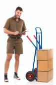 Messenger making an inventory — Stock Photo