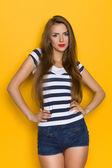 Cheerful Girl In Striped Shirt — Stock Photo