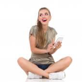 Texting Girl Smiling — Stock Photo