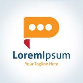 Discussion future leader forum bubble talking vector logo icon — Stock Vector