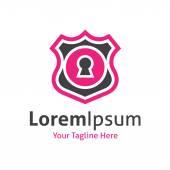 Lock key hole emblem web data shield protection vector logo icon — Stock Vector