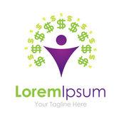 Make money green dollar sign man graphic design logo icon — Stock Vector