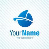 Sail the world blue boat symbol graphic design logo icon — Vector de stock