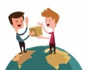 Austausch von Geschenken über die Welt Vektor Illustration-Cartoon-Figur — Stockvektor