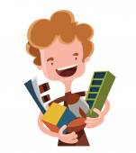 Boy holding his toys and dreams vector illustration cartoon character — ストックベクタ