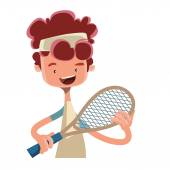 Boy playing tennis with racket vector illustration cartoon character — Stock Vector