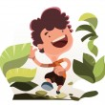 Boy running in nature vector illustration cartoon character — Stock Vector #63766197