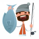 Fisherman caught fish vector illustration cartoon character — Stock Vector