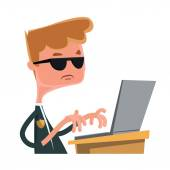 Investigation agent typing at lap top vector illustration cartoon character — Stock Vector