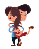 Couple hugging each other vector illustration cartoon character — Stock Vector