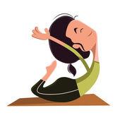 Woman doing yoga vector illustration cartoon character — Stock Vector
