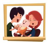 Happy family portrait vector illustration cartoon character — Vector de stock