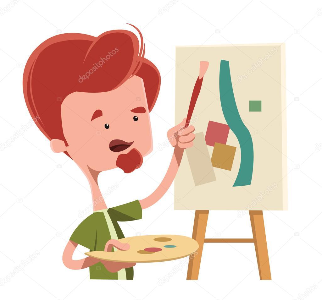 艺术家的抽象画矢量图卡通人物