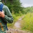 Hiker man walking on path in summer — Stock Photo #54466803
