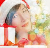 Young woman with gift boxes — Stock Photo