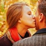 Young woman kissing man — Stock Photo #60810489