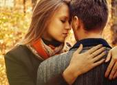 Blond woman embraces man — Stock Photo