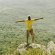 Man standing with raised arms on rock — Foto de Stock   #66583317