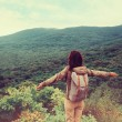 Постер, плакат: Traveler girl standing on mountain