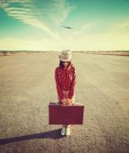 Woman Traveler with suitcase — Stock Photo