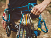 Climber wearing safety harness — Stock Photo