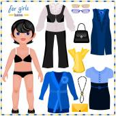 Paper doll with set of clothes — Vecteur